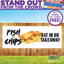 More details for fish & chips (eat in or takeaway) pvc banner restaurant take-away ready 2 hang