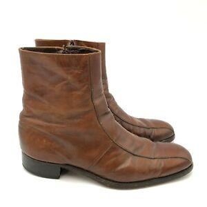 Vintage Royal Florsheim Imperial Boots Mens Size 11.5 Leather Beatle Side Zip Up