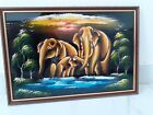 WALL DECORATOR 3 ELEPHANT FAMILY HANGING WALL PORTRAIT LUCKY PAINTING HAND MADE