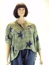 Bluse Tunika Gr. 48 50 52 Big size Lagenlook one size khaki blau Sterne Star