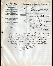 """CHAMBON-sur-VOUEIZE (23) MATERIAUX de CONSTRUCTION """"L. SAVOYANT"""" en 1911"""