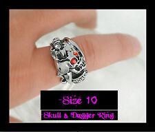JB1 Skull & Dagger 'Tattoo' Alloy Silver Statement Biker Punk Rock Badass Ring