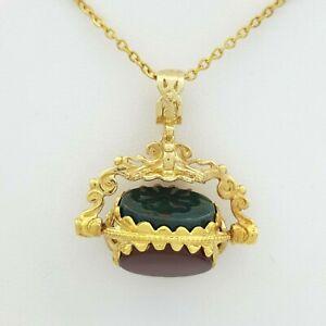 Gold Fob Swivel 9ct (375, 9K) Yellow Gold Charm Black Green Red Stone Pendant