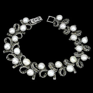 Round Creamy White Pearl 6mm Marcasite 925 Sterling Silver Bracelet 8 Ins