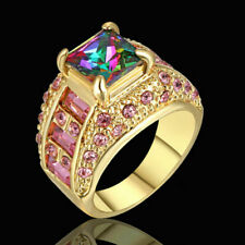 Size 8 Rainbow Sapphire Engagement Ring Wedding Band Gold Platinum Plated Gift