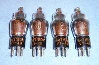 4 Raytheon VT-49 / 39/44 Vacuum Tubes - 1940's Vintage Radio RF & IF Amplifiers