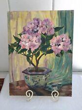 VTG Original Oil Painting Hydrangea Still Life Signed Homage to Gasteiger 12x18