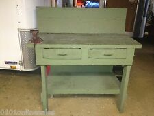 Vintage Antique Green Sideboard Server Buffet Console Table Rustic Workbench
