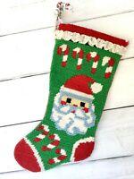 """Vintage Finished Needlepoint Christmas Stocking Santa Handmade 1980s Felt 18"""""""