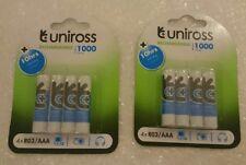 Uniross AAA 8 x Rechargeable Batteries 1000 mAh NiMH LR03 HR06 DC2400 FASTP&P