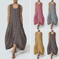 Women Sleeveless Summer Tank Dress Casual Long Shirt Dress Midi Dress Plus Size