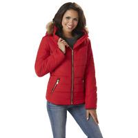 Outdoor Spirit Women's Plus Short Hooded Puffer Jacket Red 2X #NKMLF-976