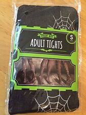 HALLOWEEN SCARY SPIDERS & WEBS FANCY DRESS TIGHTS, Size S (Approx Size10-12) NEW