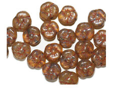 Brown Speckle Flower Czech Pressed Glass Beads 10mm (pack of 20)