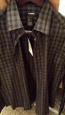 Claiborne for MEN Black with grey square design dress shirt Size Large NWT !