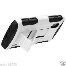 LG Nexus 4 E960 Google Phone Hybrid C Armor Case Skin Stand Cover White Black