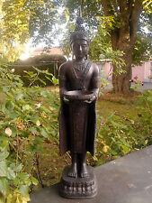 XL Thai Buddha Tempelwächter Schale Teelichthalter Statue stehend braun ca 75 cm