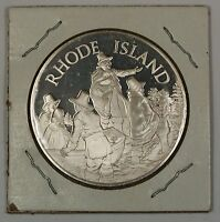 Rhode Island Gem Proof Coin Silver Medal Est. 1524 With Info on the State on Rev