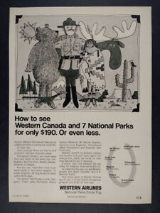 1967 Western Airlines National Parks Circle Trip vintage print Ad