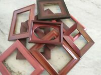 Vintage 9 Wood PICTURE FRAME Lot Recycle Arts Crafts Project Deco geo red tone