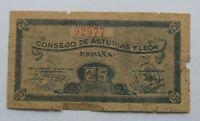 ESPAÑA . CONSEJO DE ASTURIAS Y LEON , 25 CENTIMOS 1937 , HUMEDADES