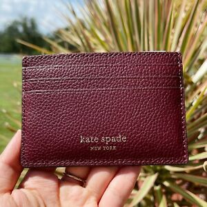 Kate Spade Eva Small Slim Card Holder Cherrywood Burgundy Leather