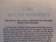5 Mil Mylar Windows for Coin Holders