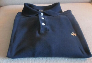 Brooks Brothers: Blue 100% Cotton Performance Long Sleeve Knit Shirt M