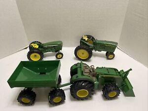 ERTL John Deere Lot of 3 Tractors with Grain Hauler Metal and Plastic Lot (908)