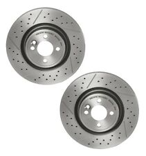 For Mini Pair Set of 2 Front Disc Brake Rotors Brembo Drilled Slotted 316x12