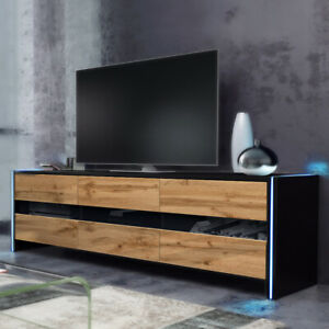 TV-Lowboard INCHEL Weiß Schwarz Holzoptik Hochglanz Matt, mit LED, 139 cm