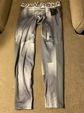 Men's Nike Pro Gray White Compression Running Tights 2XL New $60