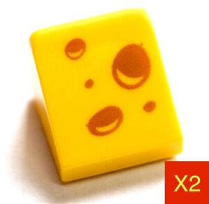 LEGO Slope Printed Cheese Wedge Pattern 30 1x1 x2/3 Yellow NEW X2