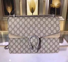 Authentic Gucci Dionysus GG Supreme Medium Shoulder Bag 403348 BeigeBrown Chain