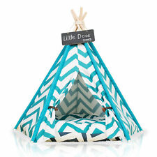 Portable Cotton Canvas Pet Tent House Bed Cat Teepee Puppy Cushion Pad Houses