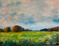 Sunny Meadow Oil Painting Impressionist LANDSCAPE Collectable