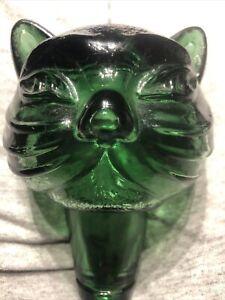 VTG Empoli (?)Glass Cat Bottle Stopper Only Italian Art Glass Cat Decanter