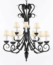 Wrought Iron Chandelier Lighting with White Shades H30