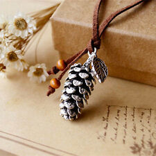 Retro PU Leather Necklace Forest Pine Cone Leaf Pendant Long Sweater Necklace