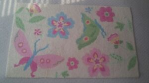 Pottery Barn Kids Butterfly Garden flower rug 3' × 5' EUC 100% wool area rug