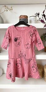 NWOT! MINI RODINI gorgeous pink fox %100 organic cotton jersey dress! 4-5yr