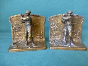 Antique L V Aronson 1923  Cast Metal Full Body Golfer Book Ends Bronze Patina