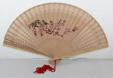 "Vintage Hand Painted Floral Design Carved Cut Out Bamboo Hand Fan - 14"" W x 8"" H"
