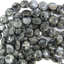 "14mm grey labradorite larvikite coin beads 14.5"" strand"