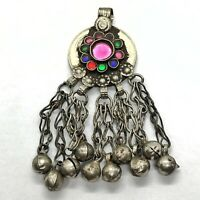 Antique Post Medieval Middle Eastern Islamic Pendant W/ Stones - Charm Old Brass