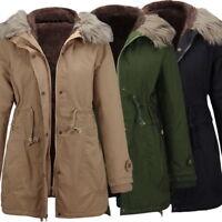 Womens Hooded Jacket Warm Fur Collar Long Slim Outwear Parka Coat Winter New