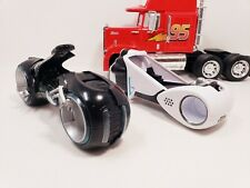 Disney 2010 Sam & Kevin Flynn Tron Legacy Deluxe Light Cycle lot - Spin Master