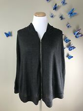 ANTHROPOLOGIE Anama $78 Angora Blend Thin Knit Charcoal Hooded Zip Cape Poncho L