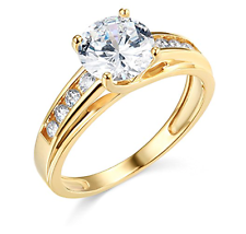 3 CT anillo de compromiso de boda con corte brillante redondo enrejado Real Oro Amarillo 14K
