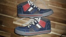 Clarks Beven Free Jnr Leather Lace & Zip Boots Navy & Grey UK Size 4F BN